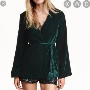 H&M Size 4 Green Velour Kimono Jacket Rope Belt